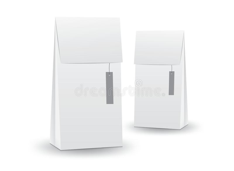 Vector blanco de la caja del paquete, diseño de paquete, caja 3d, diseño de producto, empaquetado realista para la bebida y comid libre illustration