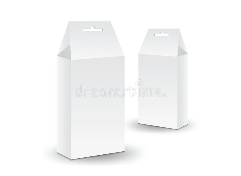 Vector blanco de la caja del paquete, diseño de paquete, caja 3d, diseño de producto, empaquetado realista para la comida y bebid libre illustration