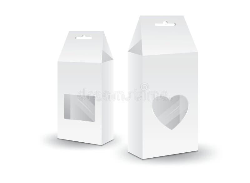Vector blanco de la caja del paquete, diseño de paquete, caja 3d, diseño de producto, empaquetado realista para la comida y bebid ilustración del vector