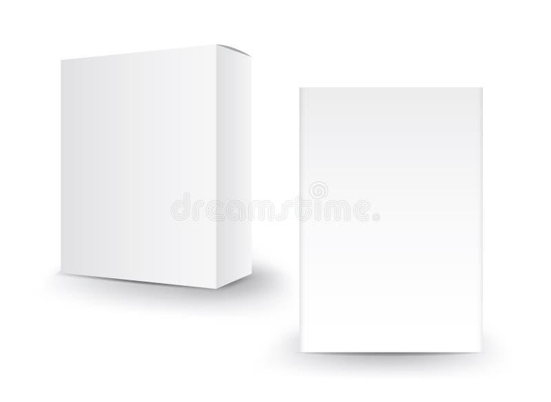 Vector blanco de la caja del paquete, dise?o de paquete, 3d caja, dise?o de producto, empaquetado realista para cosm?tico o m?dic ilustración del vector