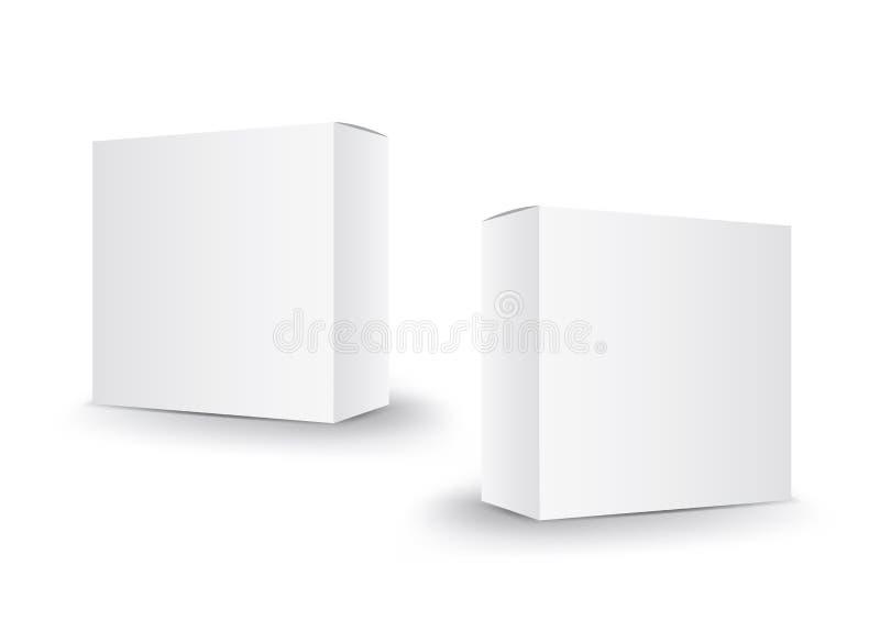 Vector blanco de la caja del paquete, dise?o de paquete, 3d caja, dise?o de producto, empaquetado realista para cosm?tico o m?dic libre illustration