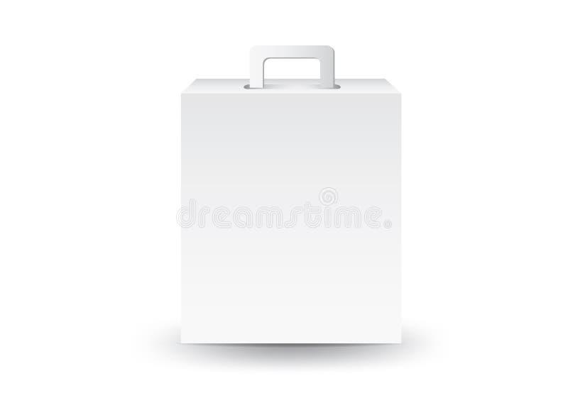 Vector blanco de la caja del paquete, dise?o de paquete, 3d caja, dise?o de producto, empaquetado realista para cosm?tico o m?dic stock de ilustración