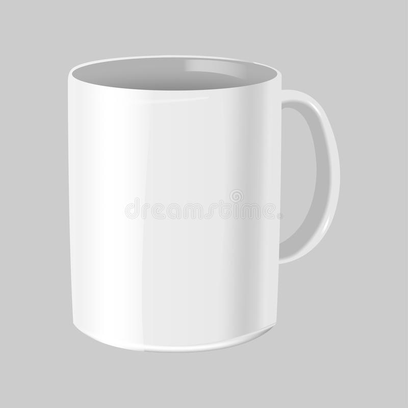Vector blanco del aislante de la maqueta de la taza del café ilustración del vector