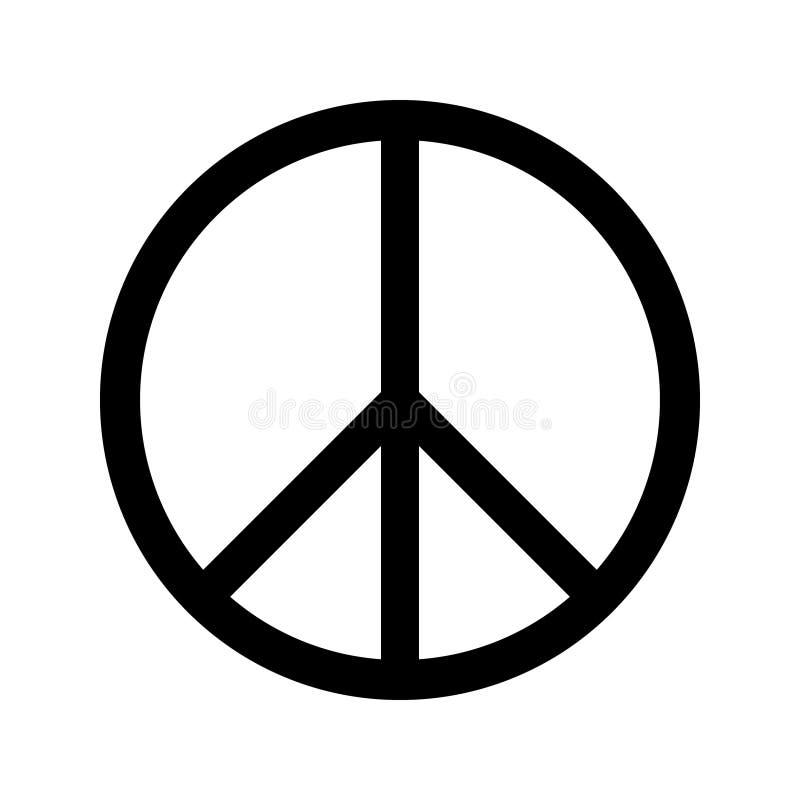 Vector blanco del aislante del negro del círculo del signo de la paz ilustración del vector