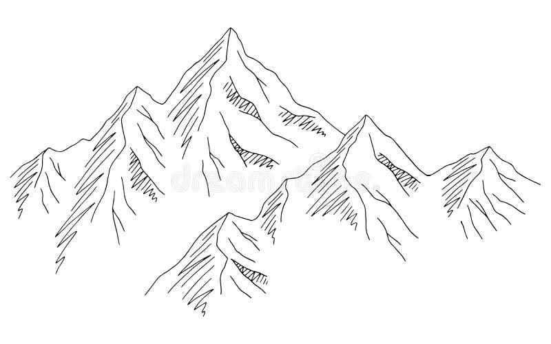 Vector blanco del ejemplo del bosquejo del paisaje del negro del gráfico de las montañas ilustración del vector
