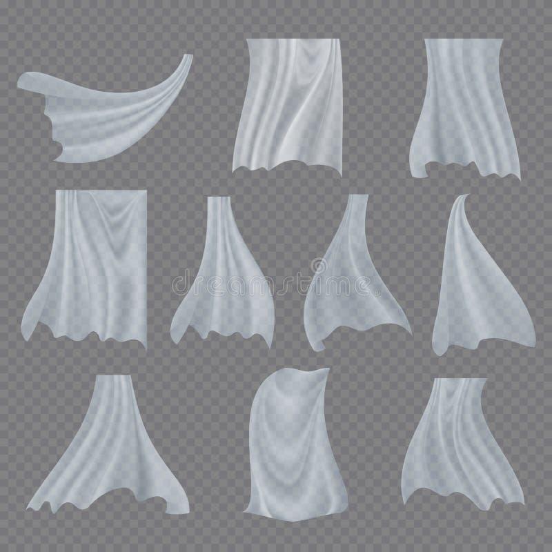 Vector blanco del sistema del paño Paño blanco transparente Billowing de la cortina rizada clara Seda curvada de la tela que agit libre illustration