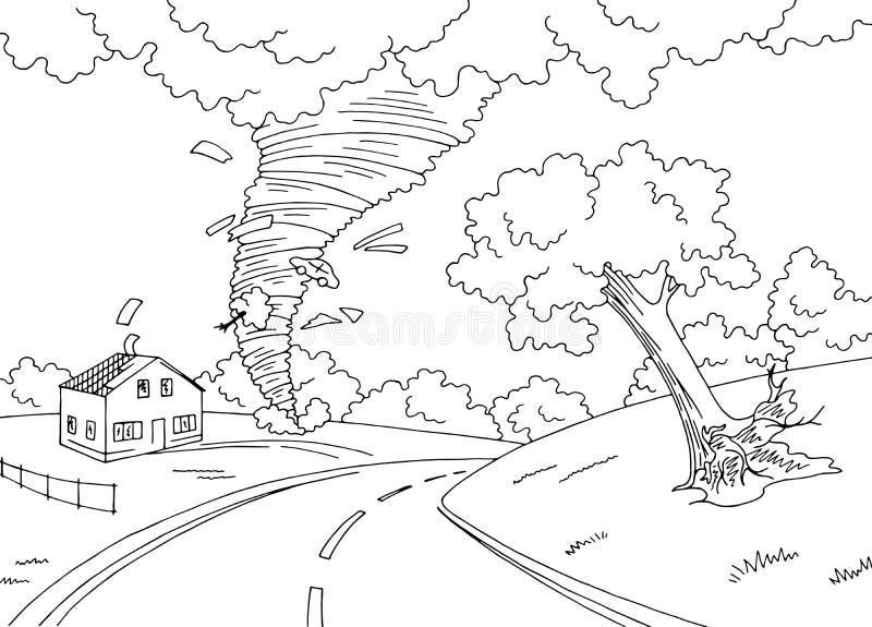 Vector blanco negro gráfico del ejemplo del bosquejo de la ciudad del paisaje de la tormenta del torbellino del huracán libre illustration