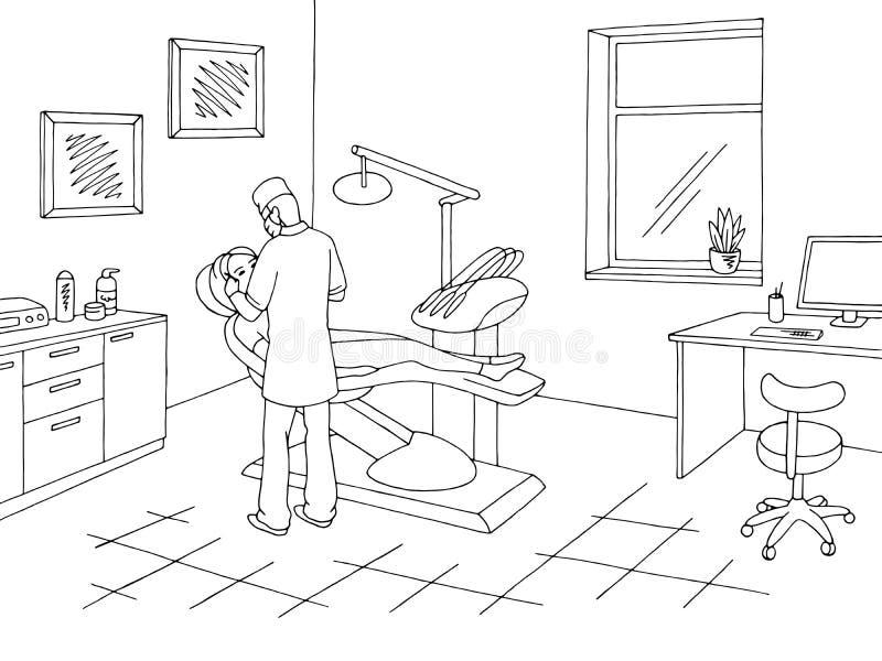 Vector blanco negro gráfico del ejemplo del bosquejo de la clínica de la oficina del dentista funcionamiento del doctor stock de ilustración
