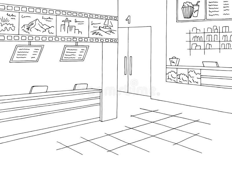 Vector blanco negro gráfico del ejemplo del bosquejo de la taquilla interior del cine stock de ilustración