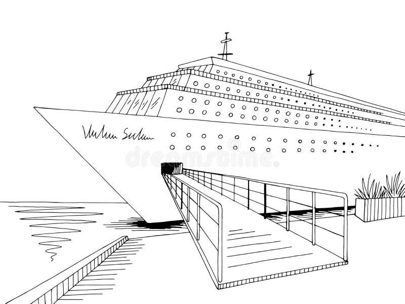 Vector blanco negro gráfico del ejemplo del bosquejo del paisaje del barco de cruceros ilustración del vector