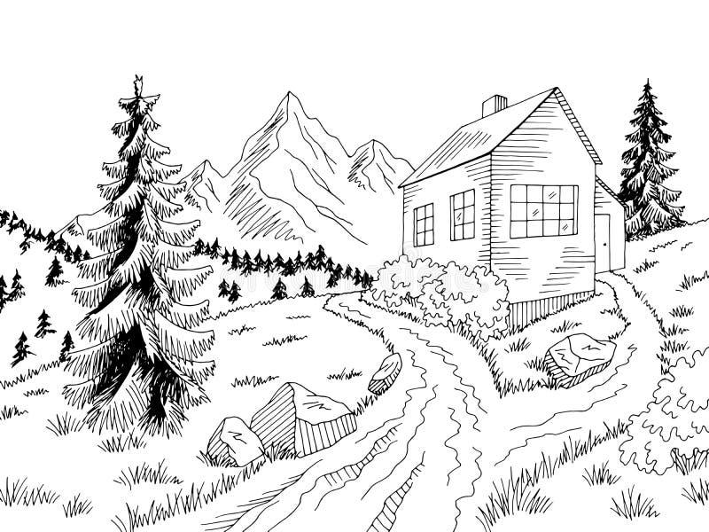 Vector blanco negro gráfico del ejemplo del bosquejo del paisaje del camino de la casa de la montaña libre illustration