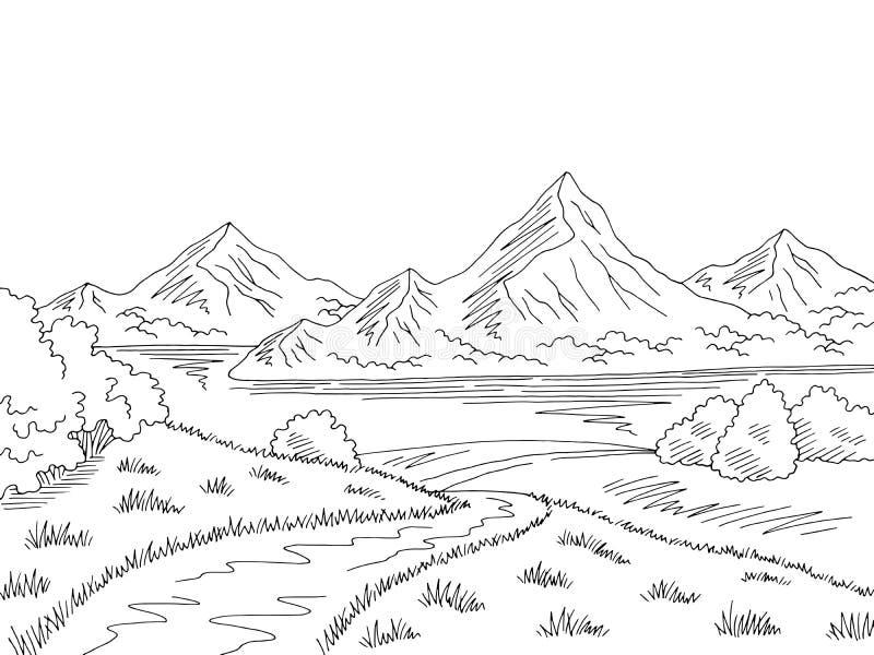 Vector blanco negro gráfico del ejemplo del bosquejo del paisaje del camino del lago mountain ilustración del vector