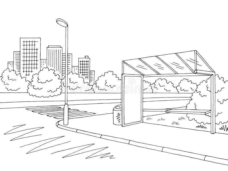 Vector blanco negro gráfico del ejemplo del bosquejo del paisaje de la calle de la ciudad de la parada de autobús stock de ilustración