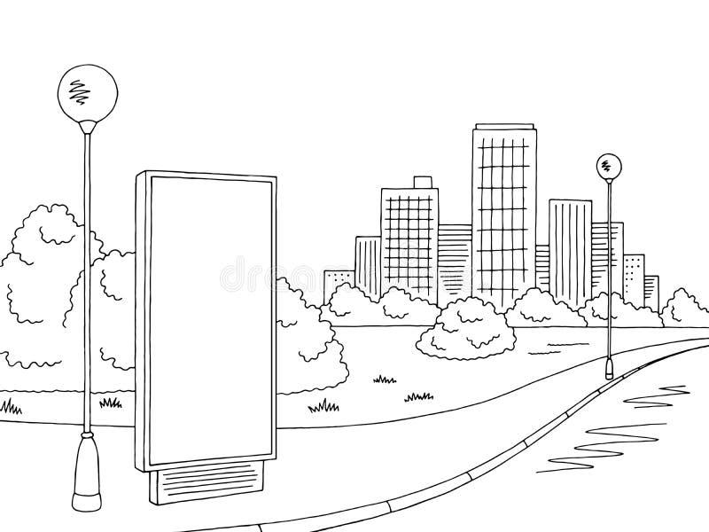 Vector blanco negro gráfico del ejemplo del bosquejo del paisaje de la ciudad de la cartelera del camino de la calle libre illustration