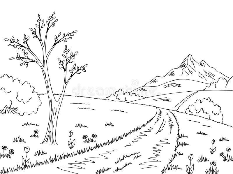 Vector blanco negro gráfico del ejemplo del bosquejo del paisaje de la primavera del camino de la montaña stock de ilustración