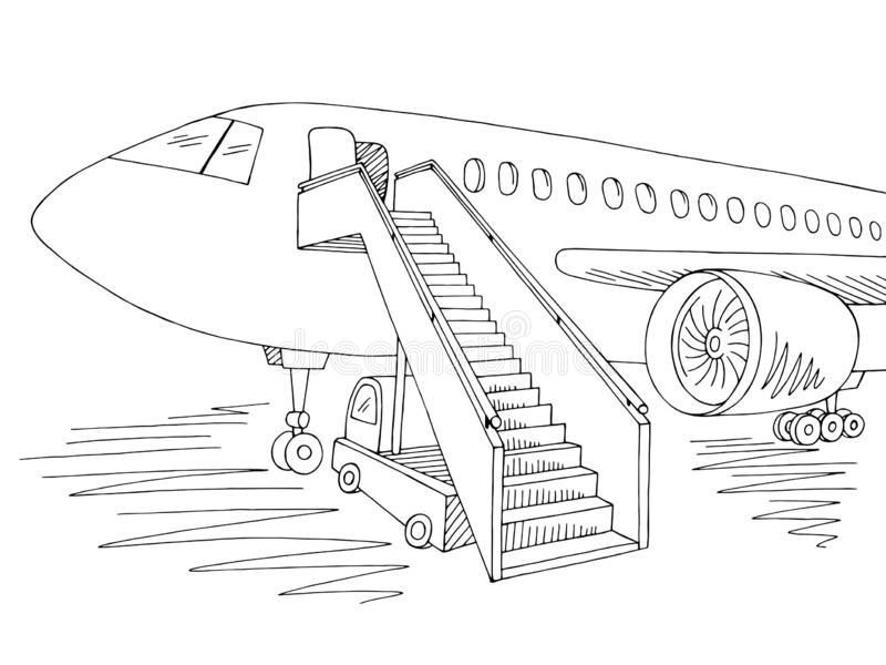 Vector blanco negro gráfico exterior del ejemplo del bosquejo de los aviones stock de ilustración