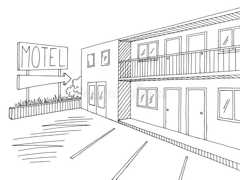 Vector blanco negro gráfico exterior del ejemplo del bosquejo del motel stock de ilustración
