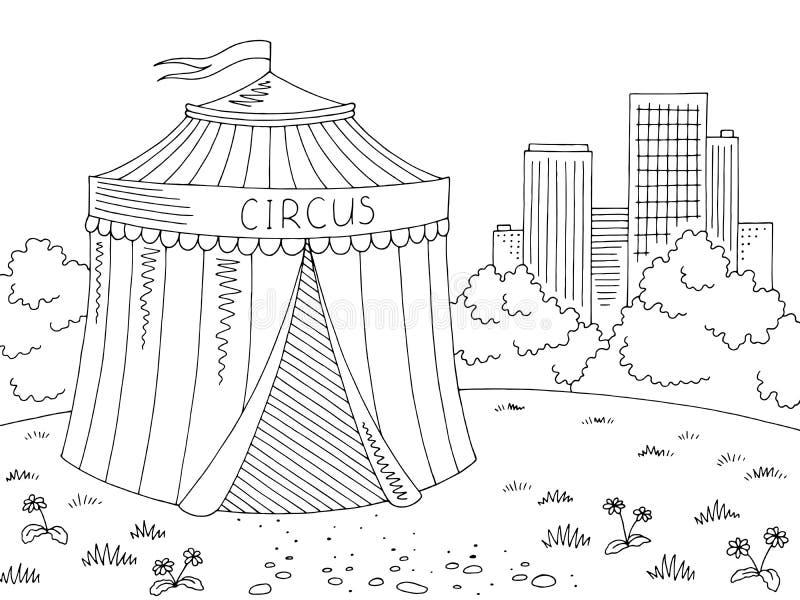 Vector blanco negro gráfico exterior del ejemplo del bosquejo del paisaje de la ciudad del circo ilustración del vector