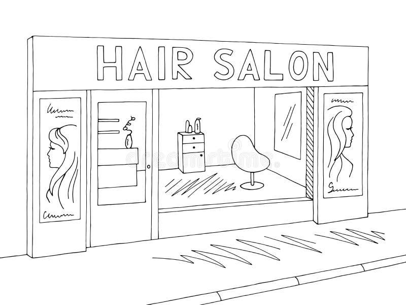 Vector blanco negro gráfico exterior del ejemplo del bosquejo del salón de pelo libre illustration