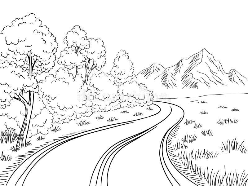 Vector blanco negro gr?fico del ejemplo del bosquejo del paisaje del camino de la monta?a ilustración del vector