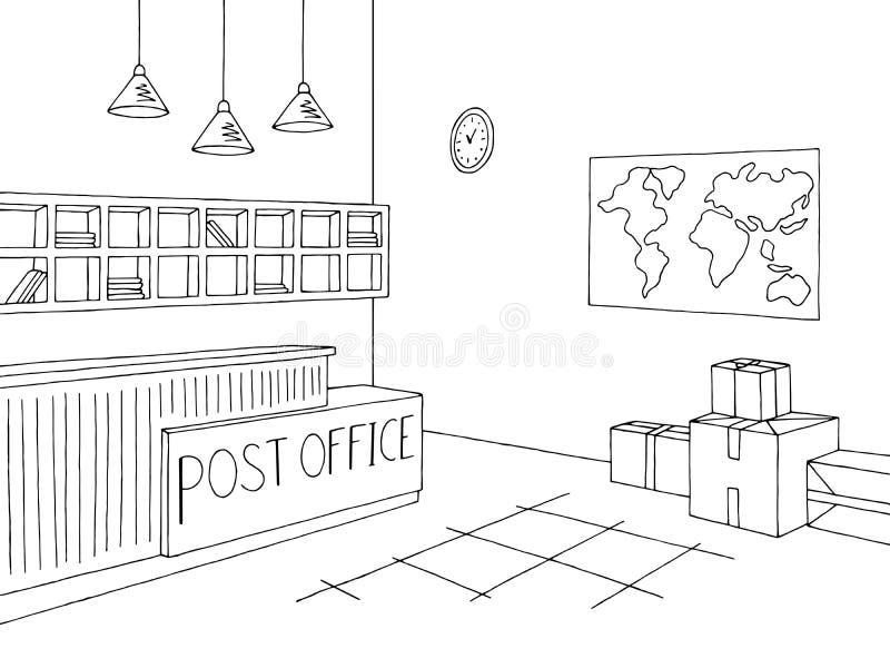 Vector blanco negro interior gráfico del ejemplo del bosquejo de la oficina de correos libre illustration