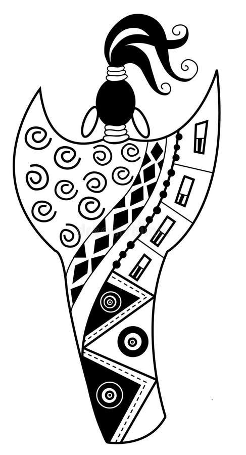 Vector blanco y negro de la mujer africana stock de ilustración