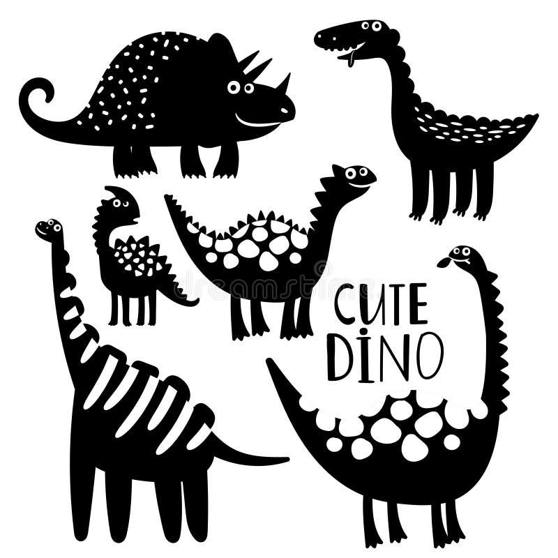 Vector blanco y negro del dinosaurus del sistema stock de ilustración