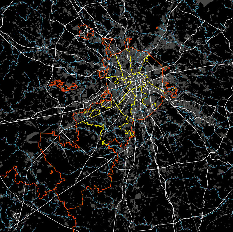 Vector blanco y negro del mapa de Moscú fotografía de archivo