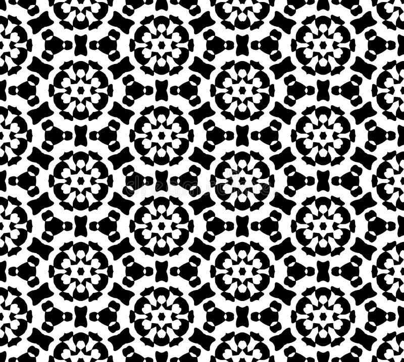 Vector blanco y negro del modelo de la repetición e imagen de fondo inconsútil stock de ilustración