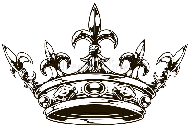 Vector blanco y negro gráfico de la corona del rey libre illustration