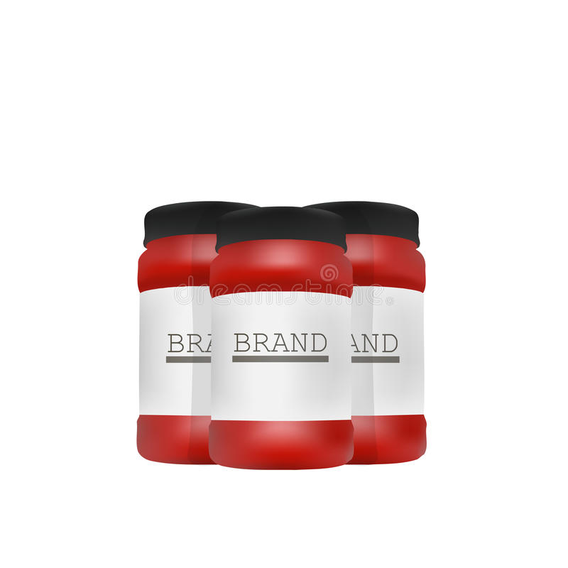 Vector Blank Big Size Plastic Packaging Bottles with Cap for Cosmetics, Vitamins, Pills or Capsules.  royalty free illustration