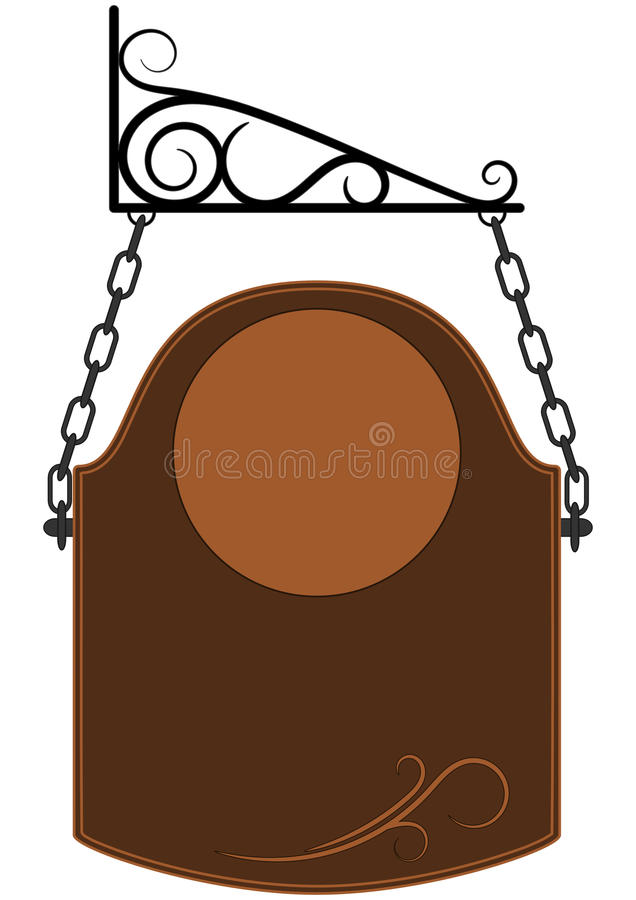 Vector Blank Brown Old Fashioned Sign vector illustration