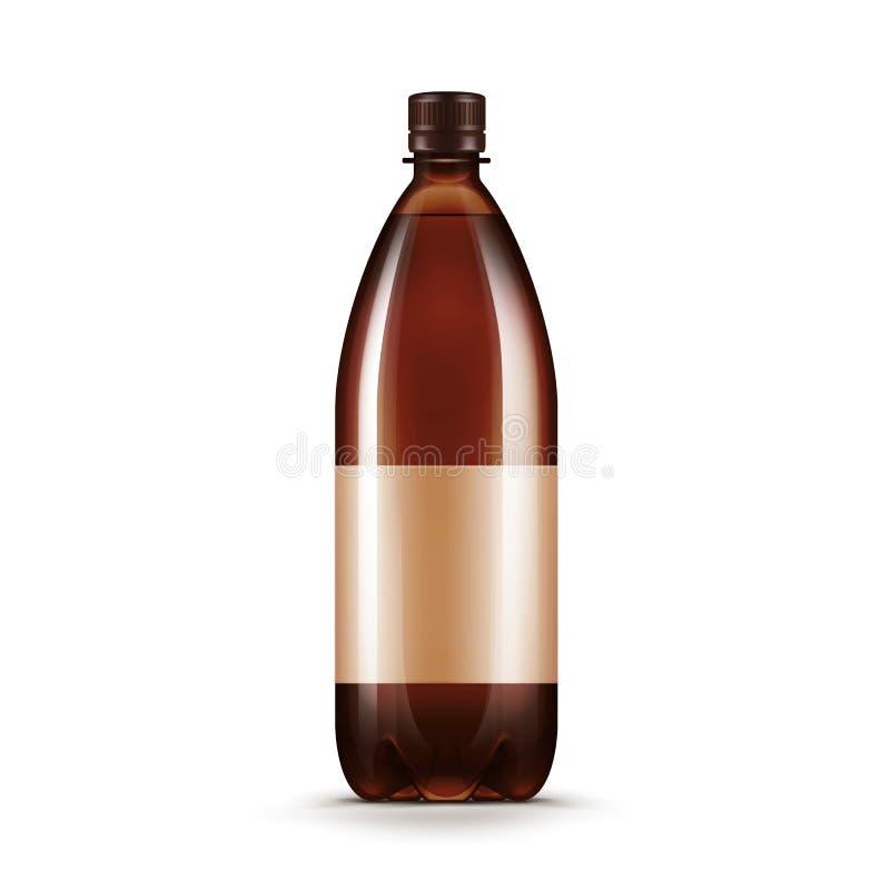 Vector Blank Brown Plastic Water Beer Kvass Bottle vector illustration