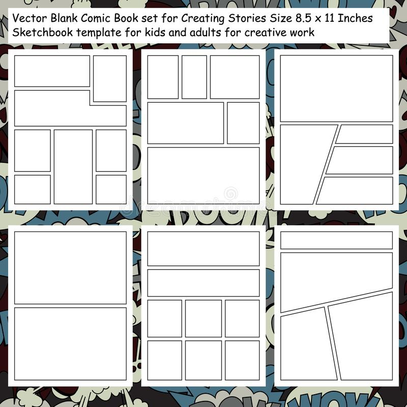 Vector Blank Comic Book set for Creating Stories royalty free illustration