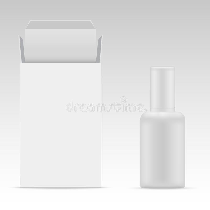 Vector blank cosmetic packaging package paper box and plastic bottle for cosmetic product stock illustration