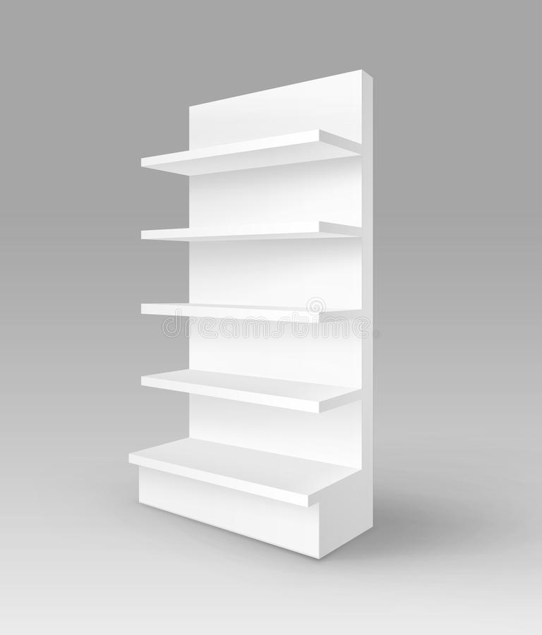 Vector Blank Empty Exhibition Trade Stand Shop Rack with Shelves Storefront Isolated on Background royalty free illustration