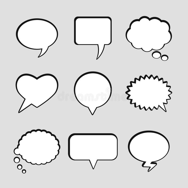Vector blank empty white speech bubbles vector illustration