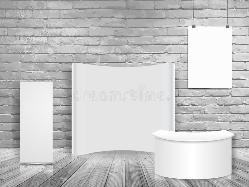 Vector blank exhibition trade show booth mock up in white brick wall room. Loft workspace concept stock illustration