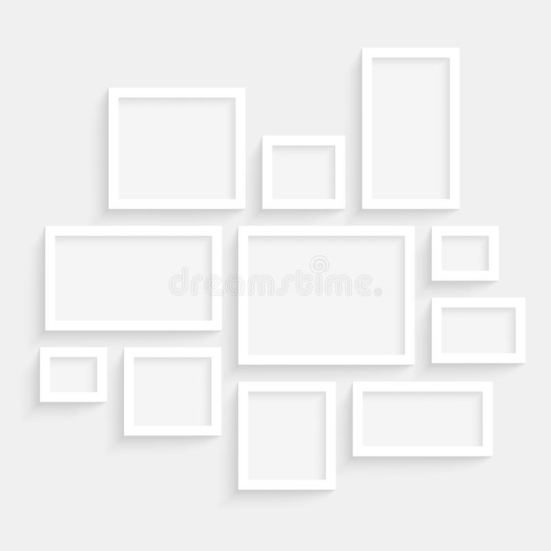 Vector Blank Frames Collection on Wall with Transparent Realistic Shadow Effects stock illustration