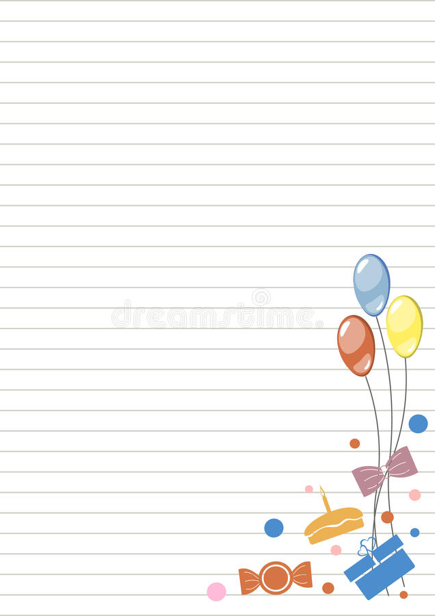 Vector blank for letter or greeting card. White paper form with colorful balloons, gifts, sweets, lines and border. stock illustration