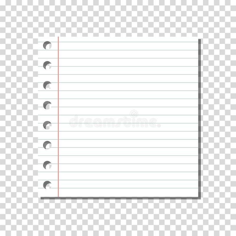 VECTOR: Blank Linear Ruled Notebook Page on Transparent Background. stock illustration