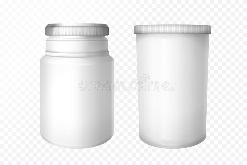 Vector realistic medical bottles set royalty free illustration