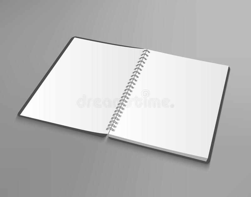 Vector blank opened notebook on gray background stock illustration