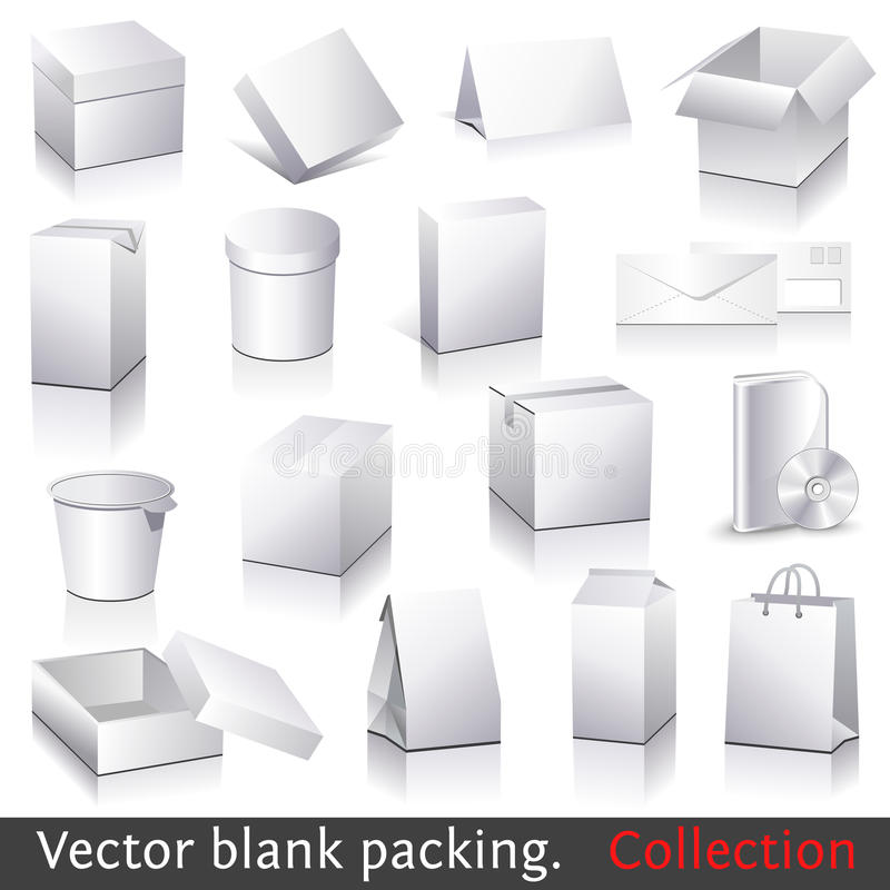 Vector blank packing collection. Set of white paper packaging and stationery elements. Dummies set to place your design on vector illustration