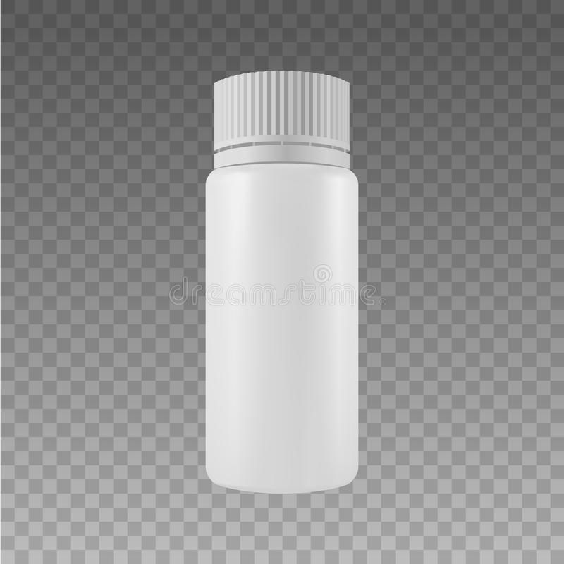 Vector Blank Plastic Packaging Bottles with Cap for Cosmetics, Vitamins, Pills, Capsules. Isolated on Transparent Background Vecto royalty free illustration