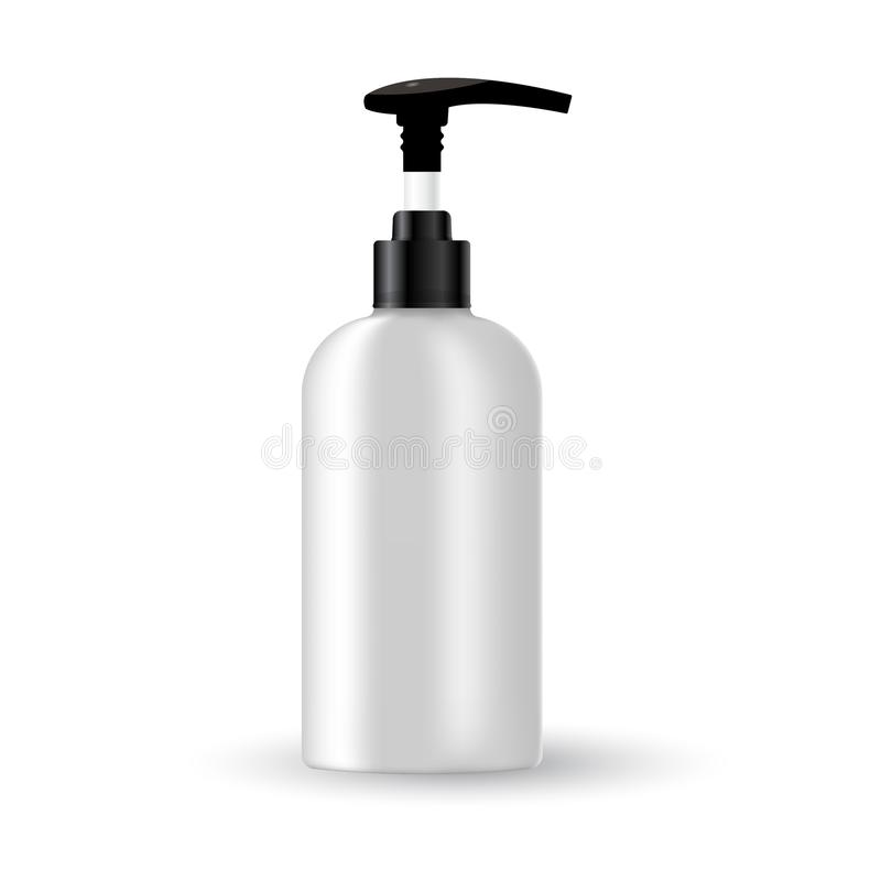 Vector blank template. Mock-up of white plastic bottle with black cap. Realistic 3d container for body lotion, shampoo, milk for. Skin care. Empty and clean