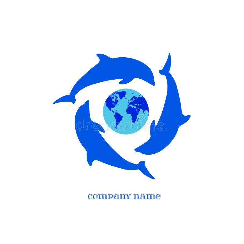 Vector blaue Delphin-Schattenbilder um Erde über Weiß vektor abbildung