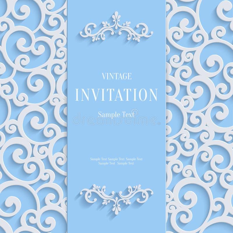 Vector blaue Einladungs-Karte der Weinlese-3d mit Strudel-Damast-Muster lizenzfreie abbildung