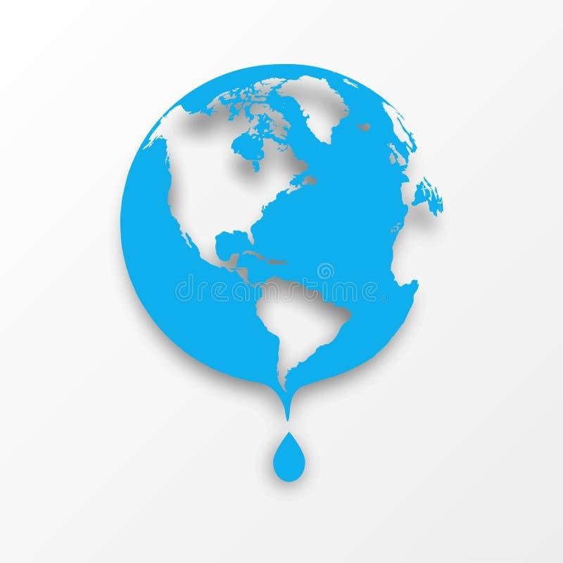 Vector blaue Erdkugel mit Tropfen des Wassers. lizenzfreie abbildung