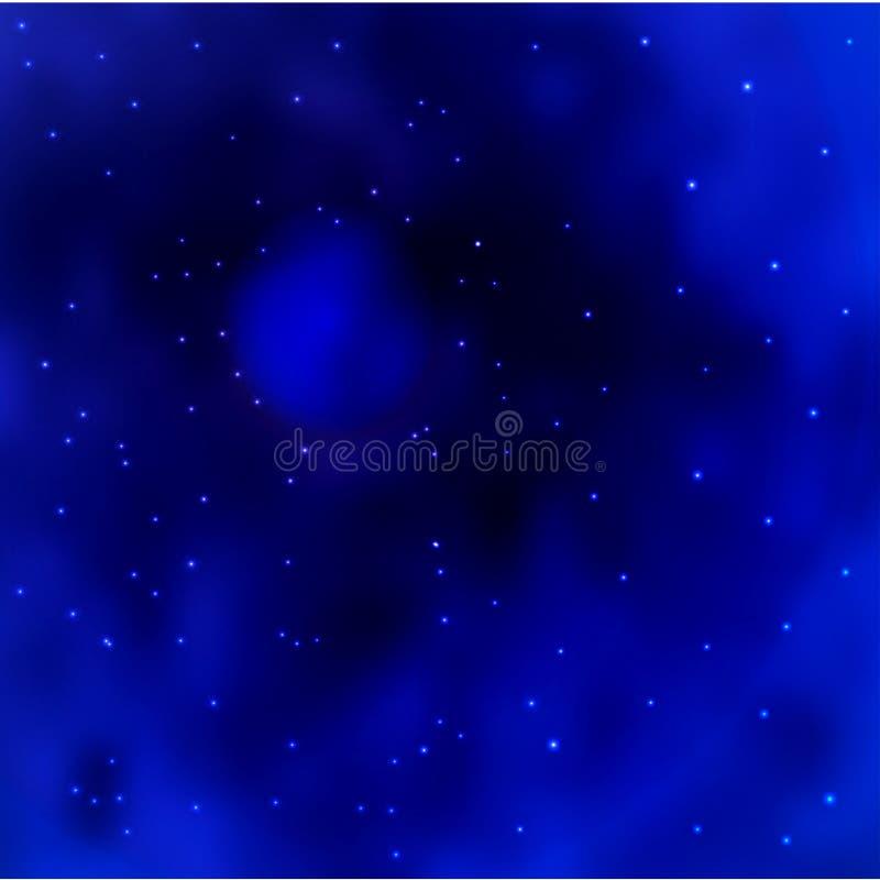 Vector blauen Raumgalaxiehintergrund mit stardust und hellen glänzenden Sternen stock abbildung